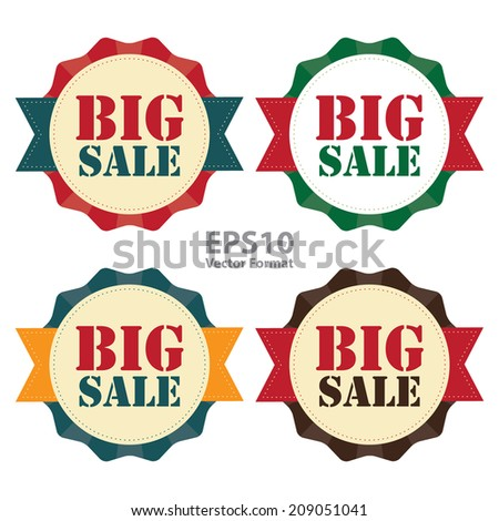 Big Sale on Vintage Badge, Icon , Sticker Isolated on White, Vector Format - stock vector