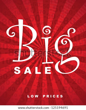 Big sale over red background with lines vector illustration - stock vector