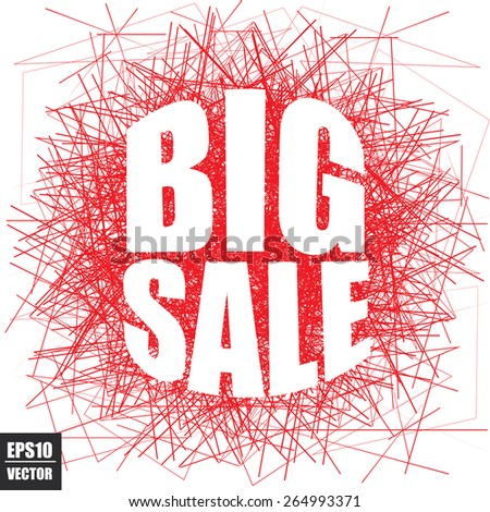 Big Sale poster With Red Line Scratch On White Background - Vector Illustration. - stock vector