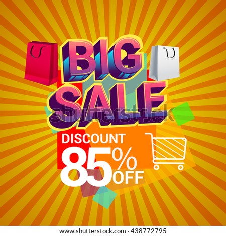 Big sale promo department store, Big sale discount 85% off banner template design with colorful geometric background. Sale banner template design.