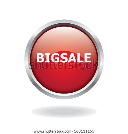 Big sale red glossy button - stock vector