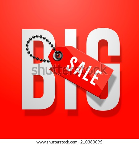 Big sale red poster with price tag, vector illustration. - stock vector