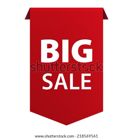 Big Sale red tag ribbon banner icon isolated on white background. Vector illustration - stock vector