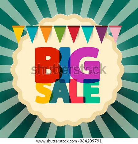 Big Sale Retro Banner with Flags - stock vector