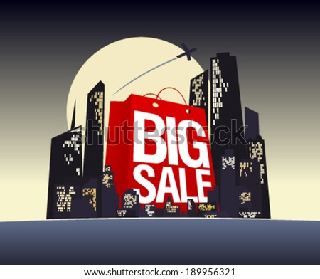 Big sale shopping bag in night city, vector poster. - stock vector