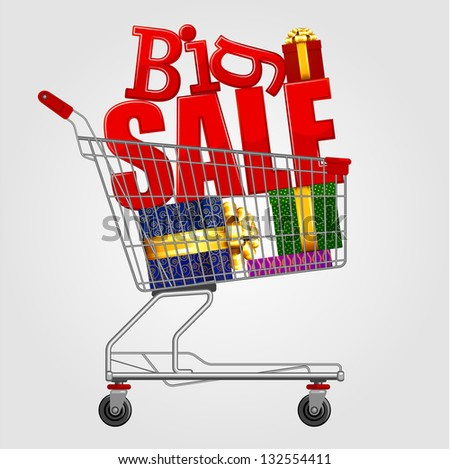 Big sale! Shopping cart full of  gift boxes. Vector. - stock vector