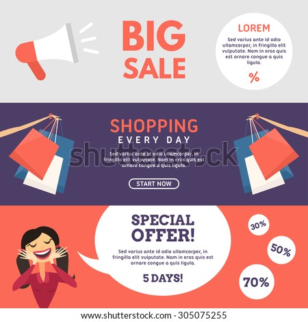 Big Sale. Shopping. Special Offer. Set of Flat Design Concepts for Web Banners and Promotional Materials - stock vector