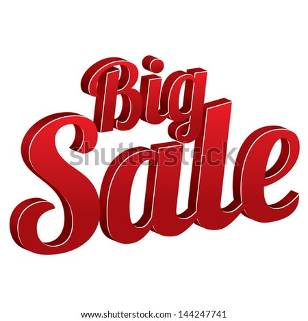 Big sale sign isolated (vector). Icon for special offer. - stock vector