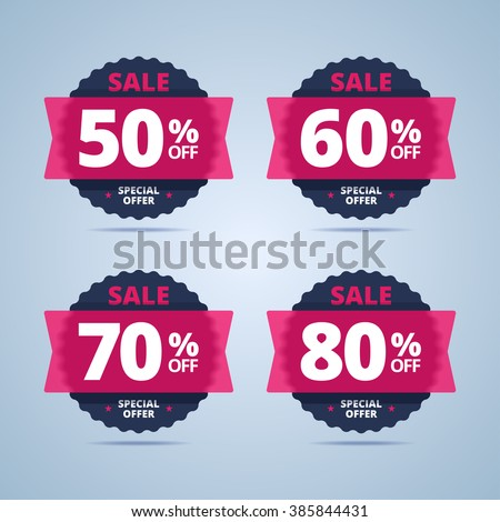 Big sale special offer banner, stamp, badge set. Transparent plastic card with 50, 60, 70, 80 percents off. - stock vector