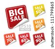 Big Sale square sticker with Sale up to 50 - 90 percent text on square background - EPS10 Vector - stock photo