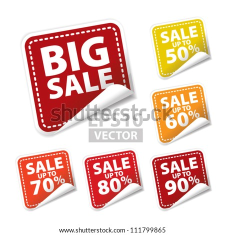 Big Sale square sticker with Sale up to 50 - 90 percent text on square background - EPS10 Vector