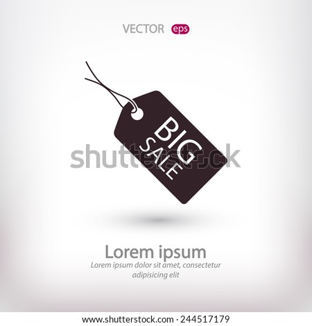 BIG SALE tag icon, vector illustration. Flat design style  - stock vector