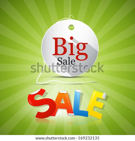 Big Sale Tag - Label on Green Background - stock vector