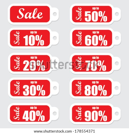 Big sale text and percent red tags. Vector design.