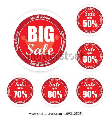 "Big Sale text and Percent tag ""50-90%"". Vector"