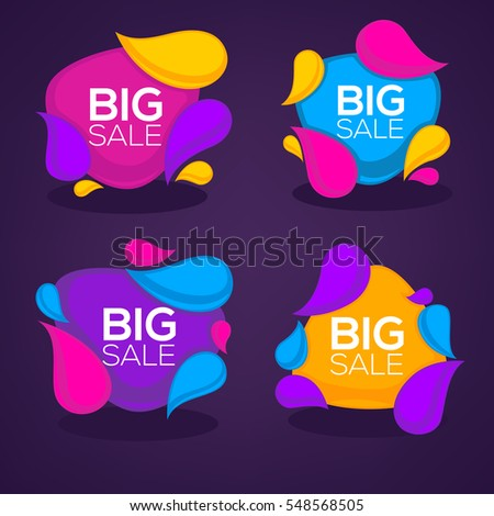 big sale, vector collection of bright discount bubble tags, banners and stickers