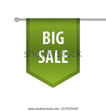 Big sale vertical ribbon bookmark tag. Vector illustration - stock vector
