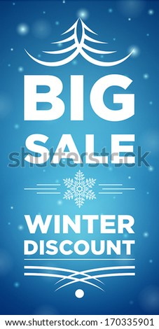 Big Sale winter discount and Snowflake in the middle, blue background,