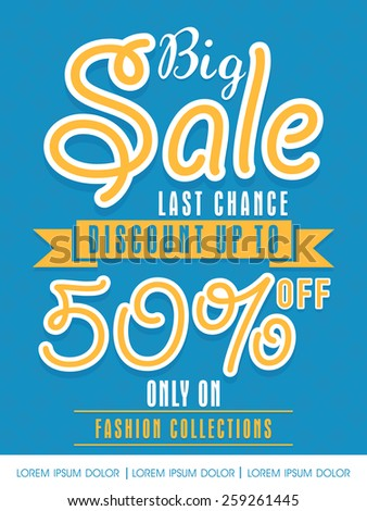 Big Sale with 50% discount offer only on fashion collection, can be used as flyer, poster or banner design. - stock vector