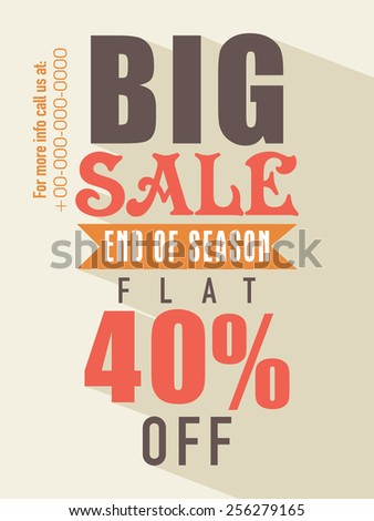 Big sale with flat discount on all products flyer, banner or template design for your business. - stock vector