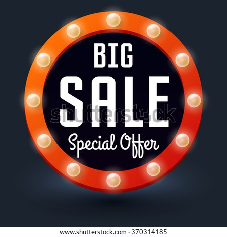 Big Sale with retro glowing lights, Vector illustration for business