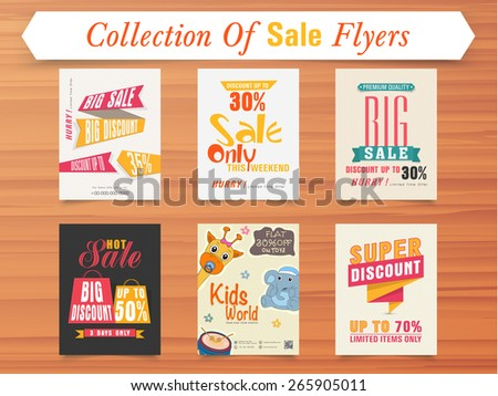 Big Sale with super discount offer for limited time, stylish poster or flyer collection on wooden background. - stock vector