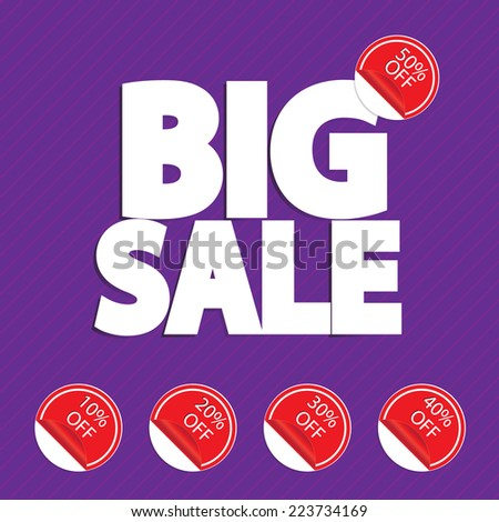 Big sale word with discount percentage, vector format
