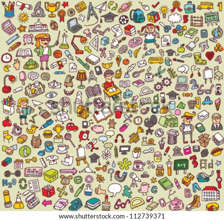Big School Icons Collection: objects, icons, people ... - stock vector