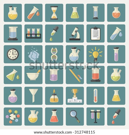 Big Science and research Web Icons set.Chemistry industry for learning and web applications.Hourglass,lamp,DNA,thermometer,burner,watches, pestle,pipette,cup,microscope,funnel, steam, magnifying glass - stock vector