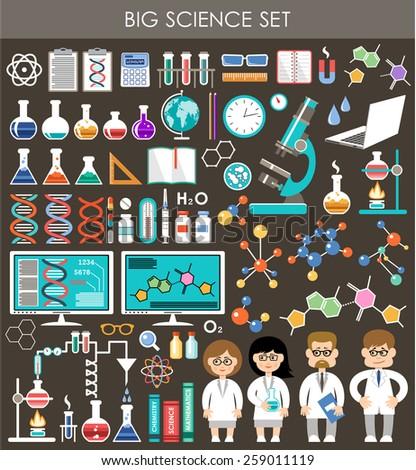 Big science set. Infographics. vector - stock vector
