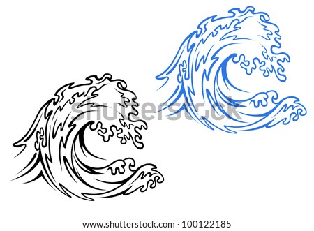 Big sea wave in black and blue variations in cartoon style. Jpeg version also available in gallery - stock vector