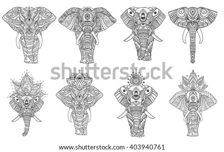 Big set card with Elephant. Frame of animal made in vector.  Illustration for design, pattern, textiles. Hand drawn Use for children's clothes, pajamas, Adult coloring book