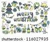 Big set Christmas elements - stock vector