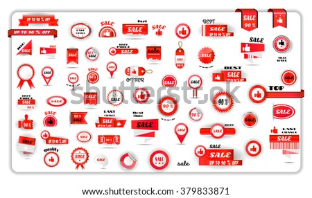 Big set, collection, group of red isolated sale labels, stickers, tags, badges, banners, icons on white background - stock vector