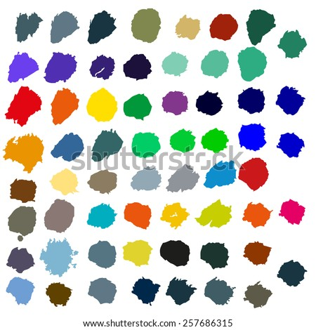 Big Set Color Blobs Stains, Isolated On White Background, Vector Illustration - stock vector