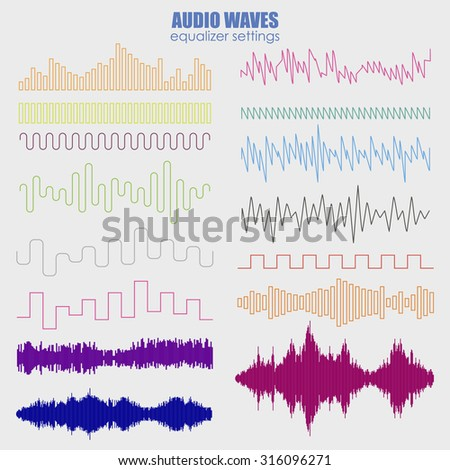 Big set color sound waves . Audio equalizer technology, pulse musical. Vector illustration . Futuristic equalizer waves for the HUD interfaces - stock vector