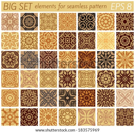 Big set elements for samples vector patterns - stock vector
