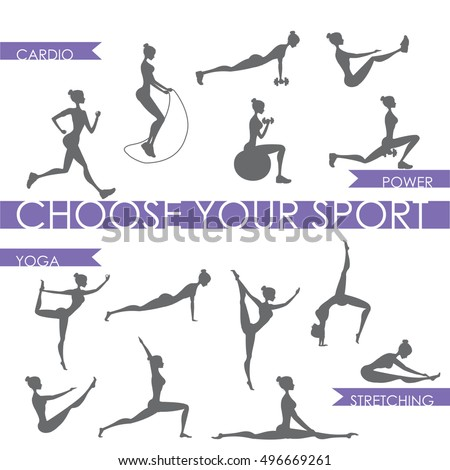 Big set - Fitness and yoga People silhouette ,Isolated On White Background ,Vector Illustration