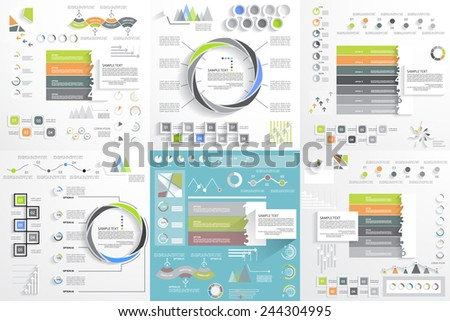 Big set for business template, graphs and diagrams, infographic elements - stock vector