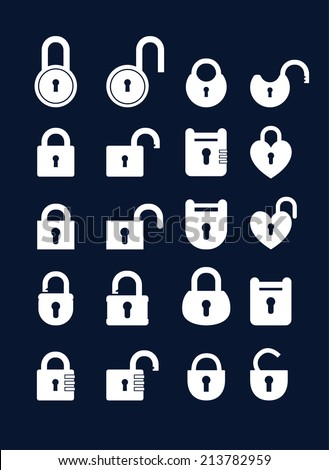 Big set icons lock icons. Simple silhouette of the lock for the door.  - stock vector