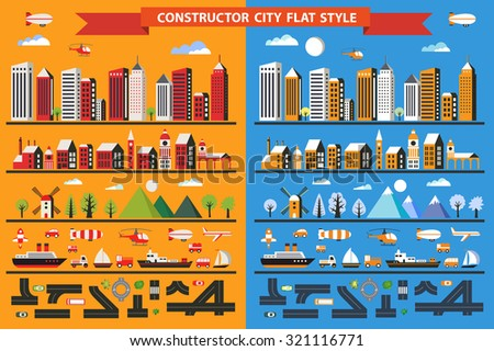 Big set in a flat style of urban elements to make your own flat city. Many color illustrations of various houses, skyscrapers and buildings, transport and urban infrastructure construction and design. - stock vector