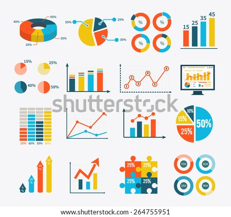 Big set infographic of graph, charts and diagrams. Flat infographic collection schemes in trend color. Can be used for web banners, marketing and promotional materials, presentation templates - stock vector