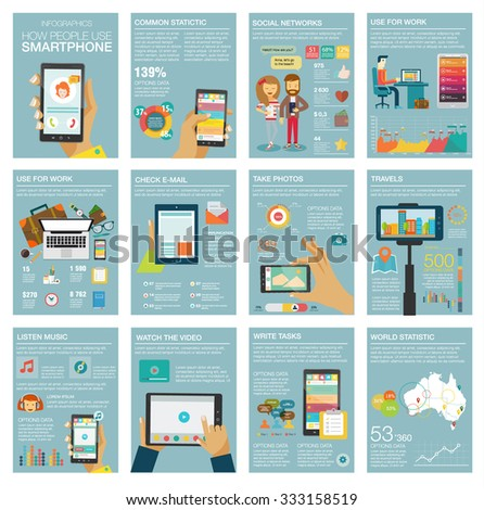 Big set Infographic with charts, icons, map, diagrams, other elements. How people use smartphone: social networks, camera, looking news, email, video, picture. Vector illustration, flat modern style - stock vector