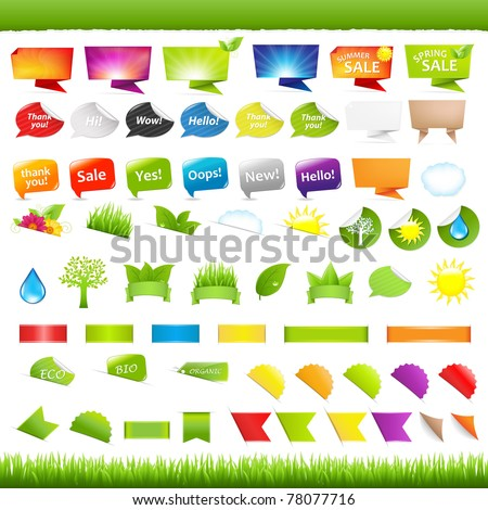 Big Set Nature Symbols, Stickers And Ribbons, Isolated On White Background, Vector Illustration - stock vector