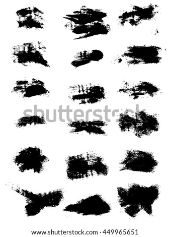 Big set of abstract smears of black ink. Grunge brush strokes. Paintbrush background for text. Vector design elements for banner, badge template, frame, pattern. Distress texture isolated on white - stock vector