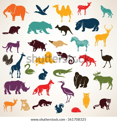 big set of african and european animals silhouettes in cartoon style - stock vector