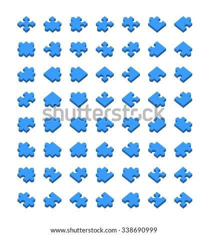 Big set of all type of jigsaw pieces in different positions isolated on white - stock vector