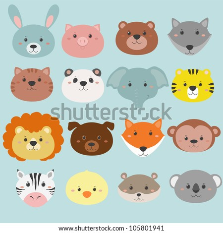 big set of animals heads - stock vector