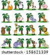 Big set of animals with palm - vector  - stock