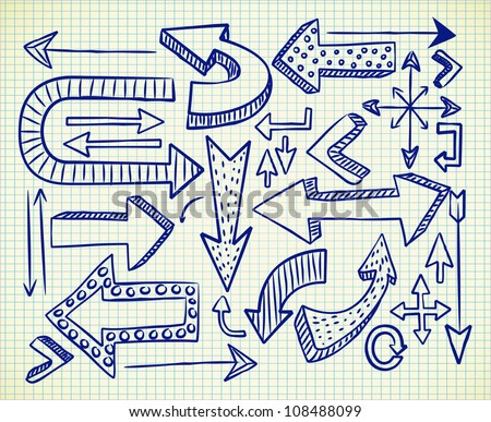 big set of arrow doodle - stock vector